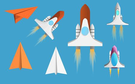 Set airplane and spaceship icons vector. technology transportation and airline adventure cartoon. objected for gaming useful. vector art and illustration.
