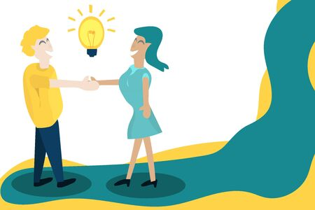 Team together Men shake hands with women, creating new ideas for job creation. Illustration