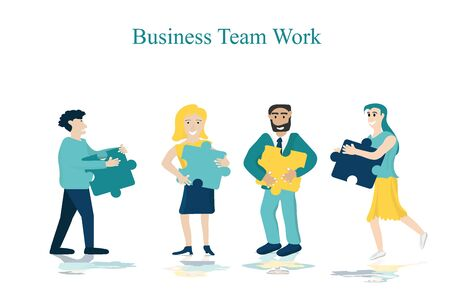 Business men and women work as a team Help each other work to achieve success. Can be used as a logo, banner, template, and business icons.