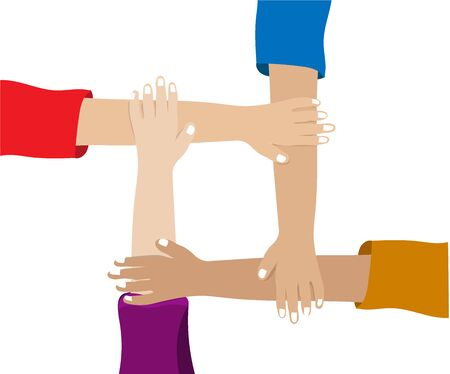 Hand shaking vector, team cooperating together, business connection and partnership to success concept