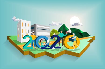 Happy new year 2020 vector concept,low poly,isometric and perspective design,people ,man and woman characteristic,numeric 2020,city scape,tree and mountain background,sunrise,vector illustration.