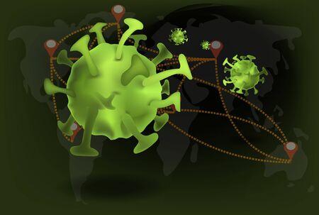 Corona virus spread around the world, green cartoon virus icons with map earth background