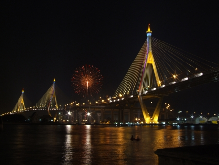 fireworks  and   bridge