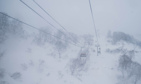 Cable car in snow strom