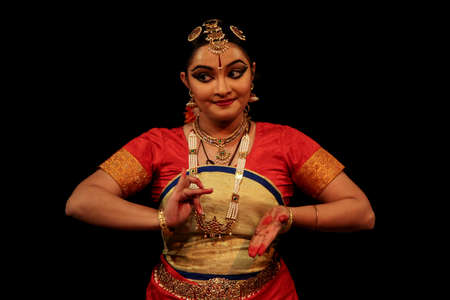 New Delhi, Delhi/India- June 14 2020: A portrait of a bharatnatyam girl dancer, wearing indian traditional dress.