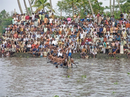 alappuzha: People are watching Boat Race, water sport in Kerala, Alleppy (Alappuzha), India