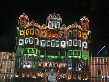 Indore Palace, decorated with light at evening of 15th august  Indore, Madhya Pradesh, India