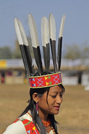 Wancho Woman, Tribe at Namdapha Eco Cultural Festival, Miao, Arunachal Pradesh, India