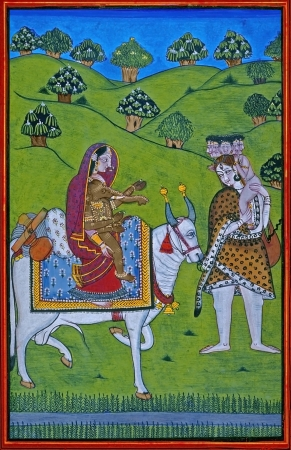 dated: Shiva-Parvati family  Pahari painting Dated  1770 A D  Mandi, India  Editorial