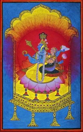 dated: Vishnu and Laxmi  Pahari Painting Dated  1700 A D  Basohli, India