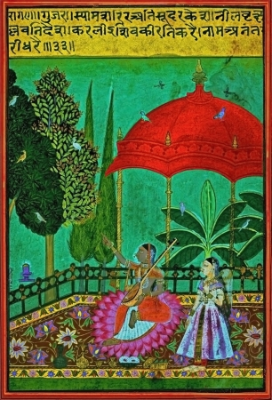 absent: Ragamala Painting, shows lady sings sad songs, because of her absent lover is unfaithful to her  She flourishes a spray of flowers and sometimes addresses her appeal to a sympathetic peacock