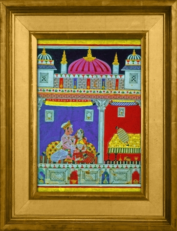 Ragamala Painting, shows two lovers sharing an intimate moment, the feeling expressed is the enjoyment of love