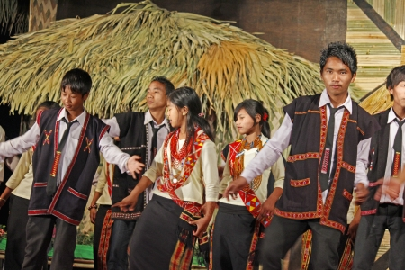 Wancho tribes performing dance at Namdapha Eco Cultural Festival, Miao, Arunachal Pradesh, India