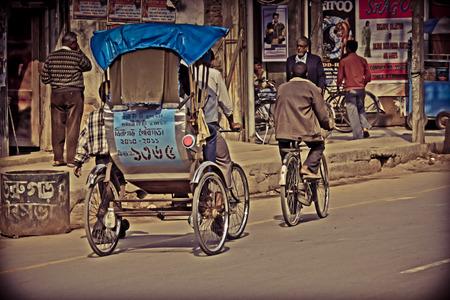 assam: A cycle rickshaw  dibrugarh assam, india Editorial