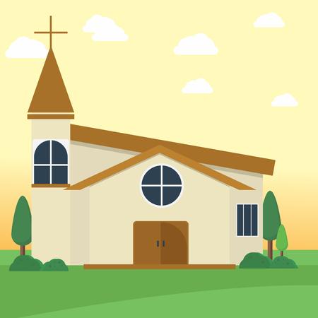 Église baptiste, bâtiment, conception conceptuelle, illustration Vecteurs