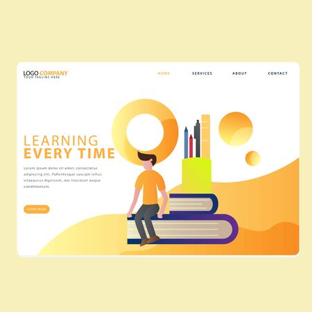 Set Of Learning Book Landing page template of Online education. Modern flat design concept of web page design for website . Easy to edit and customize. Vector illustration.