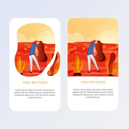 Set Of Yoga Posses for Aplication and website. Vector illustration - girl in yoga lotus pose. Park, forest, trees and hills on background. Banner, site, poster template.