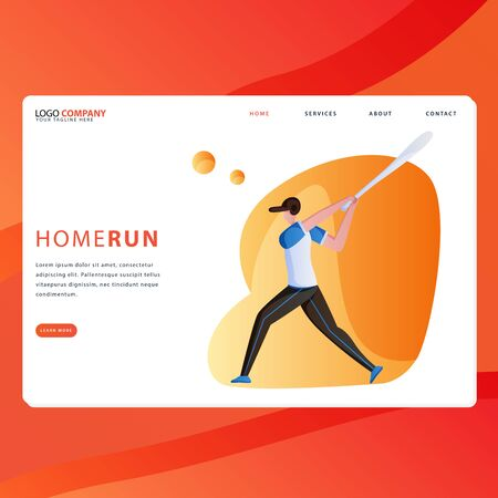 Landing page template of Sport. Modern flat design concept of web page design for website and mobile website. Easy to edit and customize. Vector illustration - Vector
