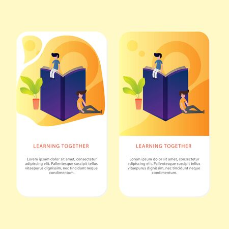Set Of Learning Book Mobile page template of Online education. Modern flat design concept of web page design for Aplication and mobile website. Easy to edit and customize. Vector illustration.  イラスト・ベクター素材