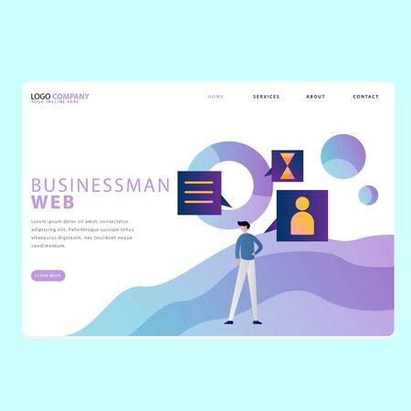 Set of Bussinesman Landing pages template for business, finance, data analysis and marketing. Modern flat design concept. Web page design for website and mobile website. Flat vector illustration.