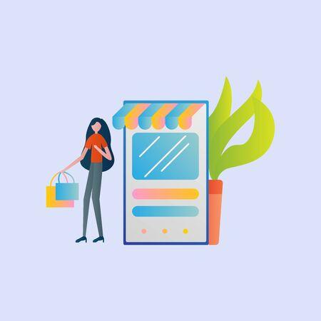 Set of Online shop Illustration for online shop, marketing, sales and sosial media. Modern flat design concept. Web page design for website and mobile website. Flat vector illustration.shop. Stock Illustratie