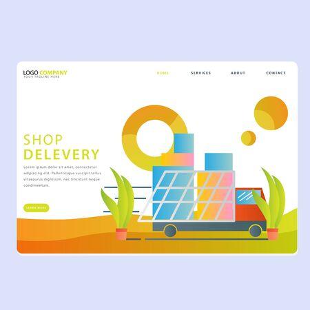Set of Online shop Landing pages template for online shop, marketing, sales and sosial media. Modern flat design concept. Web page design for website and mobile website. Flat vector illustration.