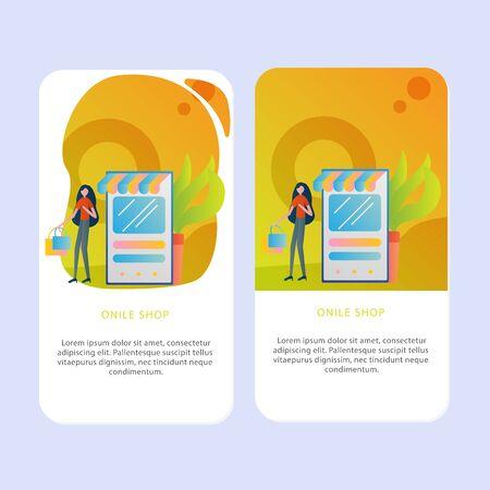 Set of Online shop Mobile pages template for online shop, marketing, sales and sosial media. Modern flat design concept. Web page design for website and mobile website. Flat vector illustration.shop.