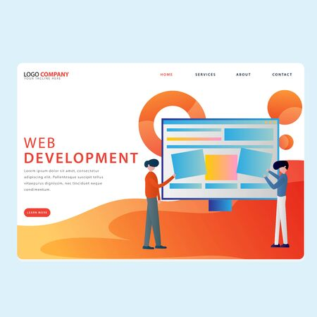 Set of Development Landing pages template for development, mobile, shop and marketing. Modern flat design concept. Web page design for website and mobile website. Flat vector illustration. Easy edit.  イラスト・ベクター素材