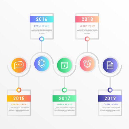 Infografica moderna vettoriale con cinque passaggi per la presentazione. Modello di infografica aziendale con opzioni per brochure, layout del flusso di lavoro, diagramma, opzioni di passaggi aziendali, banner e web design.