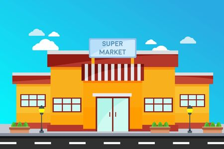 Modern Super Market buildings, illustration of exterior facade store building.