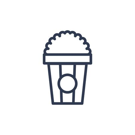 popcorn icon in outline style. vector illustration and editable stroke. Isolated on white background. 일러스트