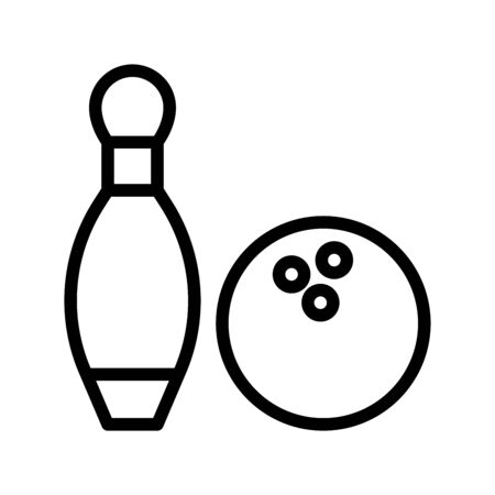Icon bowling in outline style. vector illustration and editable stroke. Isolated on white background.