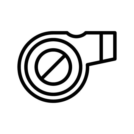 Icon whistle in outline style. vector illustration and editable stroke. Isolated on white background.