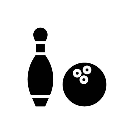 Icon bowling in glyph style. vector illustration and editable stroke. Isolated on white background. Ilustracja