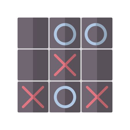 Icon tic tac toe in flat style. vector illustration and editable stroke. Isolated on white background.