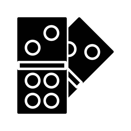 Icon dominoes in glyph style. vector illustration and editable stroke. Isolated on white background. Stock Illustratie