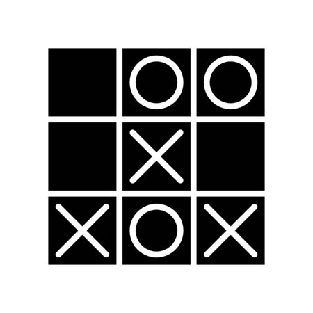 Icon tic tac toe in glyph style. vector illustration and editable stroke. Isolated on white background.