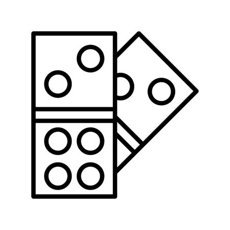 Icon dominoes in outline style. vector illustration and editable stroke. Isolated on white background.
