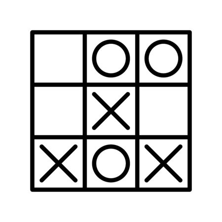 Icon tic tac toe in outline style. vector illustration and editable stroke. Isolated on white background. Çizim
