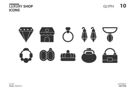 10 Icon collection of  Luxury Shop in glyph style. vector illustration and editable stroke. Isolated on white background.