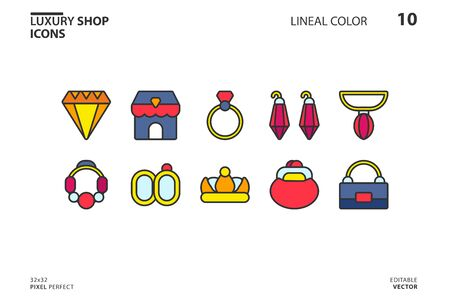 10 Icon collection of  Luxury Shop in lineal color style. vector illustration and editable stroke. Isolated on white background. 向量圖像
