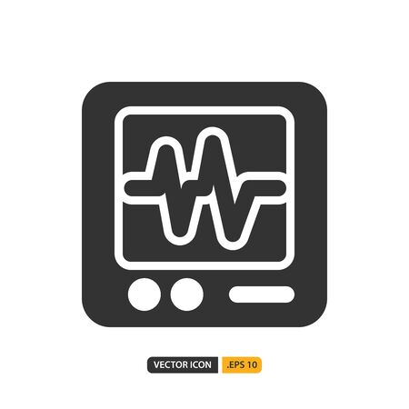 cardiogram icon in filled style. Vector logo design template. Modern design icon, symbol, logo and illustration. Vector graphics illustration and editable stroke. Isolated on white background. Illustration