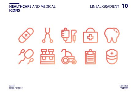 Healthcare And Medical icon set in lineal gradient style. Vector logo design template. Modern design icon, symbol, logo and illustration. Vector graphics illustration and editable stroke. Isolated on white background.