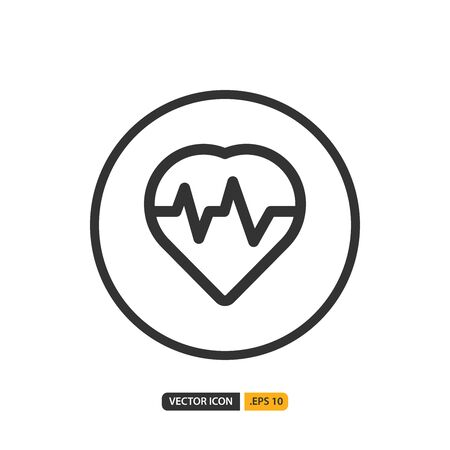 heartbeat icon in outline style. Vector logo design template. Modern design icon, symbol, logo and illustration. Vector graphics illustration and editable stroke. Isolated on white background. Illustration