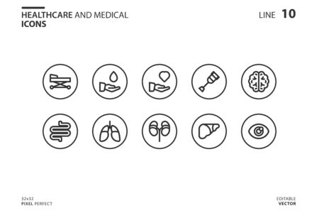 Healthcare And Medical icon set in outline style. Vector logo design template. Modern design icon, symbol, logo and illustration. Vector graphics illustration and editable stroke. Isolated on white background.