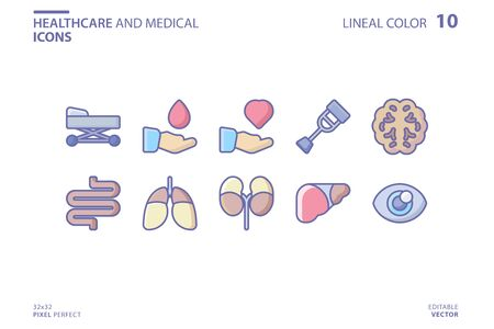 Healthcare And Medical icon set in lineal color style. Vector logo design template. Modern design icon, symbol, logo and illustration. Vector graphics illustration and editable stroke. Isolated on white background.