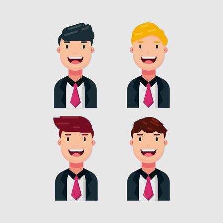 Set di vestiti di affari degli uomini sorridenti isolati su priorità bassa bianca. Cartone animato, emozioni ed espressione. Illustrazione vettoriale semplice.