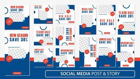 Social media stories and post bundle kit template Premium Vector.