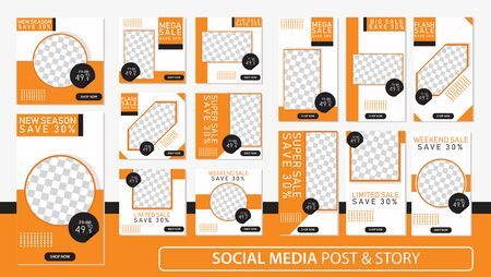 Social media stories and post bundle kit template Premium Vector.