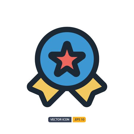 badge icon in Outline Color style isolated on white background. for your web site design, logo, app, UI. Vector graphics illustration and editable stroke.